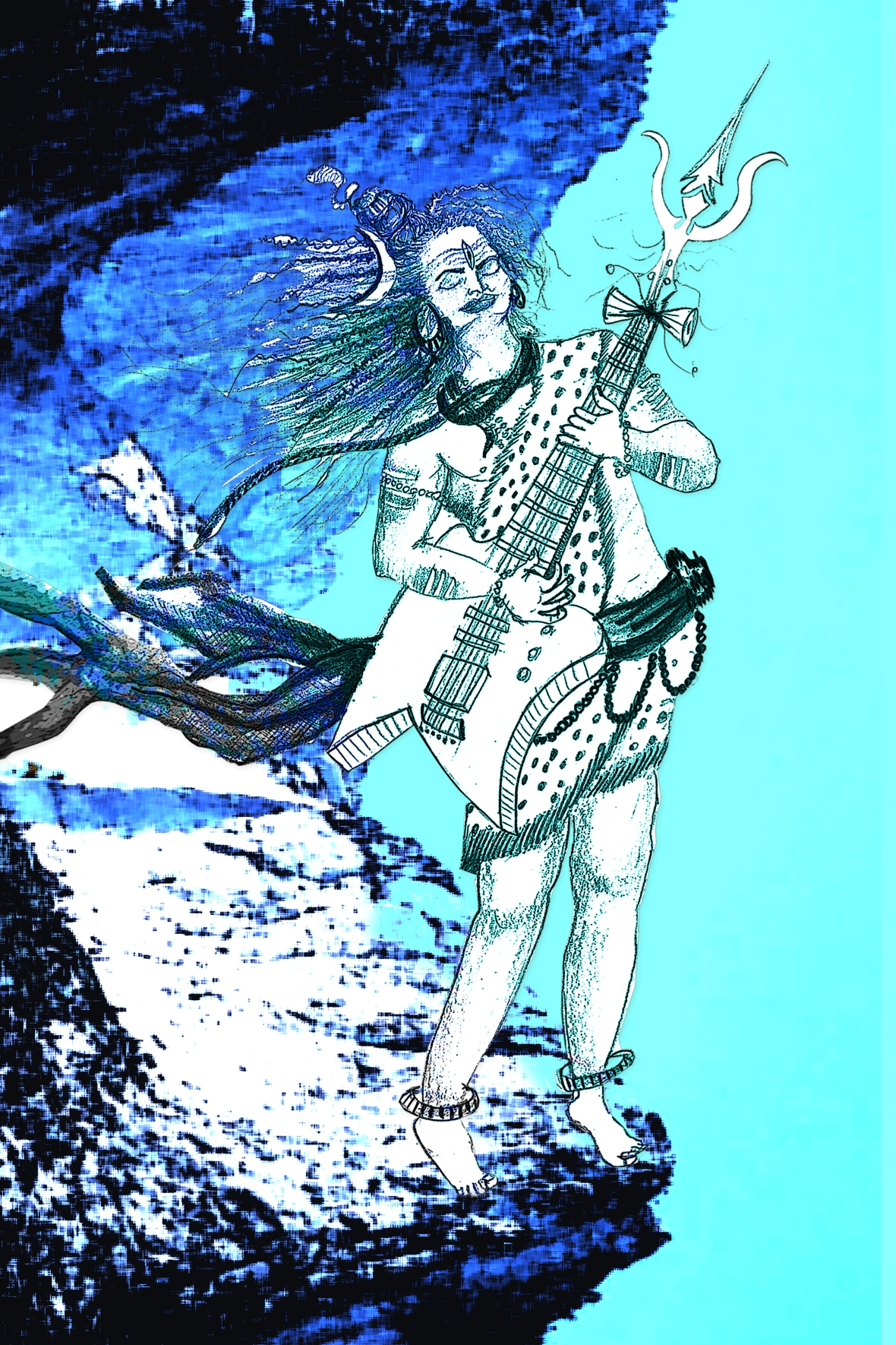 Lord Shiva playing guitar